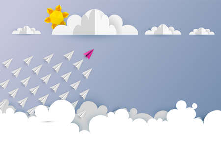 Paper airplanes in shape of arrow shape flying from clouds on blue sky.Paper art style of business teamwork creative concept idea.Vector illustration