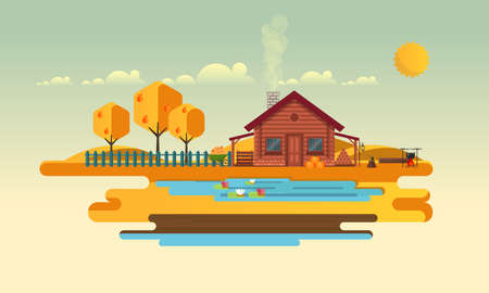 Flat Vector Landscape Illustration in Autumn, with wooden house.