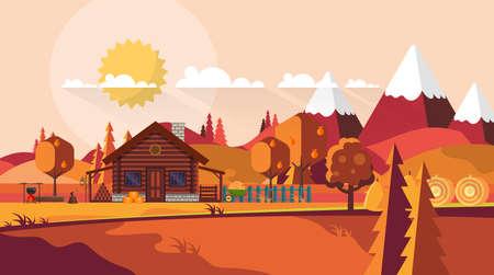 Illustrazione piana del paesaggio dell'azienda agricola della campagna in autunno. Disegno vettoriale.