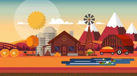 Flat illustration of Countryside Farm Landscape in Autumn. Vector Design. Vecteurs