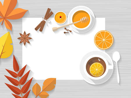 Vector top view of autumn still life. Leaves, with hot cup of tea with orange peel and honey. Vettoriali
