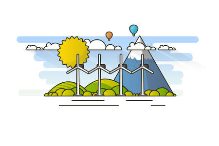 Ecology Concept, Banner Template in Flat Style. Vector Illustration. Wind Turbines, Green Energy Technology.
