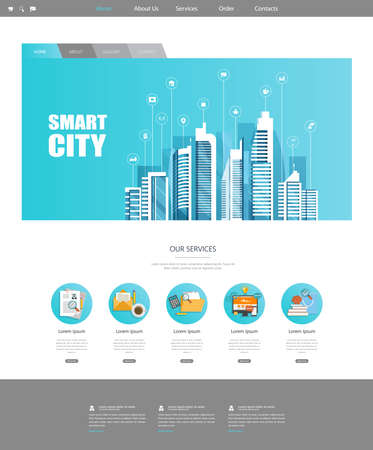 One Page Website Template with Flat Illustration of Smart City Header Design Ilustração