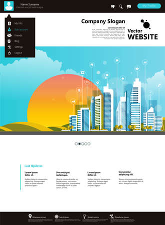 Website Design Template Ecological Theme Vector illustration of mobile website design and development. Creative concept, easy to edit and customize.
