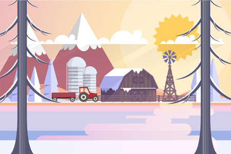 Winter Landscape In Sunset Background. Flat Vector Illustration Illustration