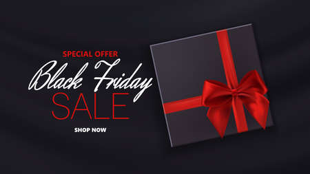 Black friday sale with typographic background with photorealistic bow and place for text. Vector illustration. 向量圖像