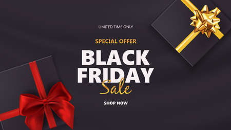 Black friday sale with gift boxes 向量圖像