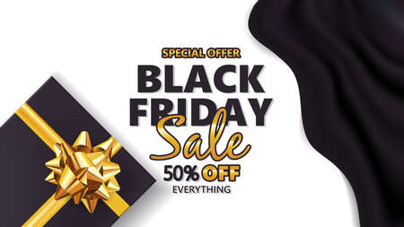 Black friday sale with gift box and golden bow.