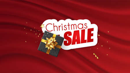 Christmas sale promotional banner with colorful christmas elements