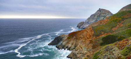 Panoramic landscape of the rocky beach at Devils Slide, Pacifica, California Stock Photo