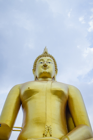 vihara: The big golden Buddha statue in Muang temple, Ang Thong, Thailand. Stock Photo