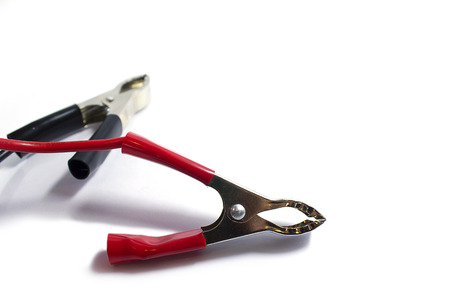 Electronic jumper cables, Positive electrode and Negative electrode Stock Photo
