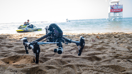 On Dec 10,2017. Professional camera drone on beach with jet ski in Jet ski world cup 2017 at Jomtien Beach in Chon Buri, Thailand.
