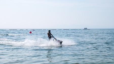 On Dec 10,2017. Jet ski cup 2017 at Jomtien Beach in Chon Buri, Thailand. Jet ski on sea.