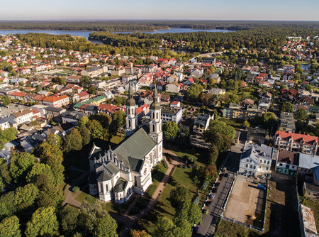 City panorama with church and park in Poland - Augustow