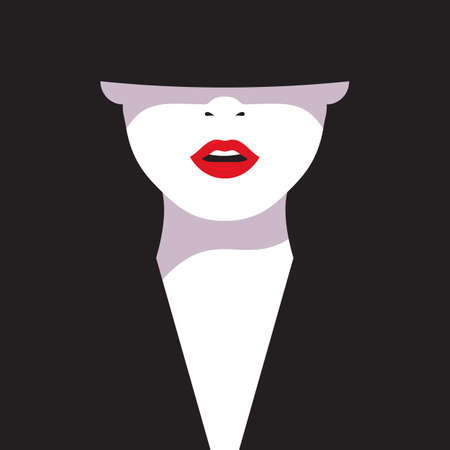glamorous: High fashion. Cartoon a glamorous woman with red lips on black background. Vector illustration fashionable woman in black