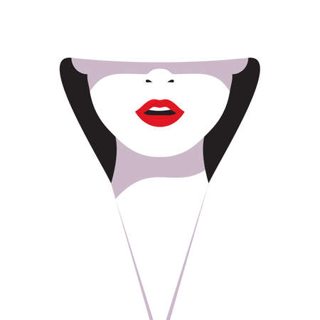 glamorous: High fashion. Cartoon a glamorous woman with red lips on white background. Vector illustration fashionable woman in white