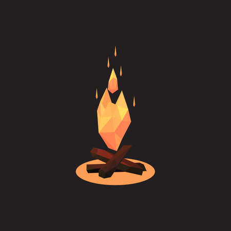 Vector illustration of bonfire. Polygonal style a bonfire Illustration