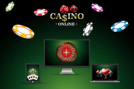 wheel of fortune: Banner, template site for playing online in poker, casino. Background with roulette, casino chips, playing cards
