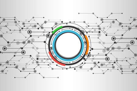 Concept technologique abstrait avec divers éléments technologiques. Illustration vectorielle avec points et lignes de connexion, cercles colorés