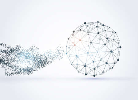 World map point, line, composition, representing the global network connection. Mesh with particles abstract background
