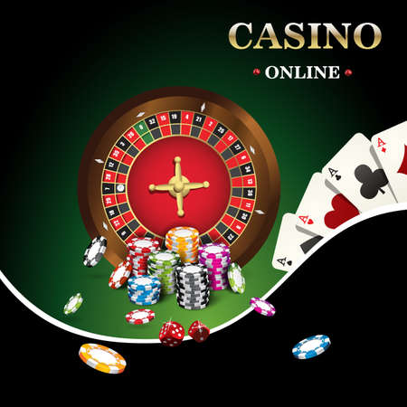 roulette layout: Casino banner includes roulette, casino chips, playing cards for poker Illustration