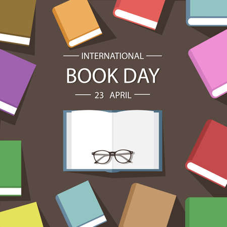 notebook cover: Colored book background flat design. Vector illustration poster international book day