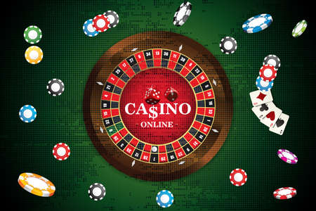 Design casino banner with roulette, dice, casino chips, playing cards for poker. Vector illustration