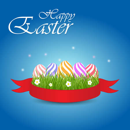 Easter eggs with grass and flowers in red ribbon on a blue background. Vector elements for celebratory design Illustration