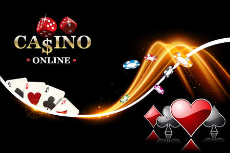 Vector design casino banner. Poker background with dice, casino chips, playing cards
