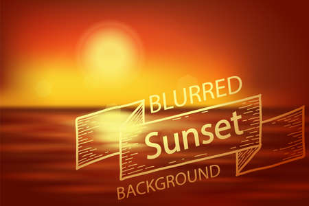 Blurred sunset. Vector illustration red sunset on sea