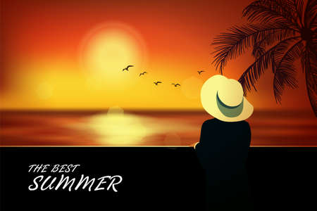Elegant woman in hat standing on the beach and looking at sea. Summer background, vogue style. Vector illustration
