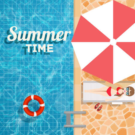 Invitation to a water party in the summer pool. Vector design illustration swimming pool with inflatable ring and a sunbathing girl under an umbrella 矢量图像