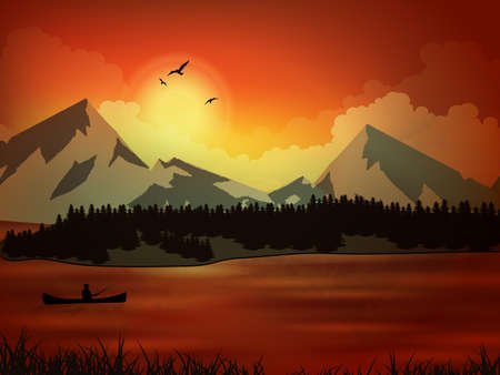 Berufsfischer, Sonnenuntergang, fishin. Vector illustration die Natur, Berg, See Vektorgrafik