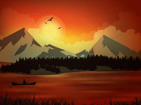 Professional fisherman, sunset, fishin. Vector illustration the nature, mountain, lake