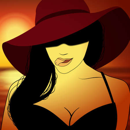Girl in hat with sunset behind