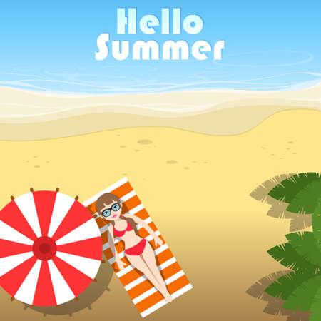 Summer vacation banner Vector illustration 矢量图像