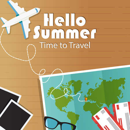 Summer vacation banner. Vector illustration world map, tickets, airplane