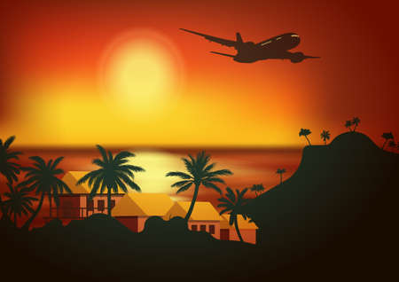 Vector background tropical beach with huts. Sea panorama. Travel to World. Vacation. Tourism. Travel banner 矢量图像