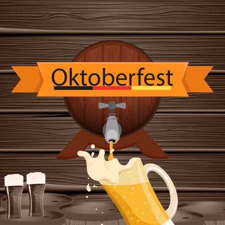 Oktoberfest beer festival. Vintage poster with wooden background