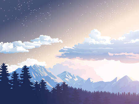 Vector illustration mountain landscape. Starry night sky. Sunset, dawn sun over the mountains in forest Ilustração