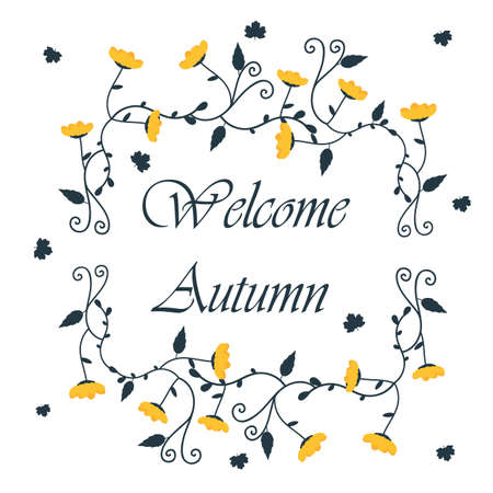 Template autumn background with floral frame