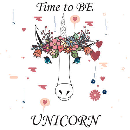 Time to be unicorn with flower crown. Vector illustration 矢量图像