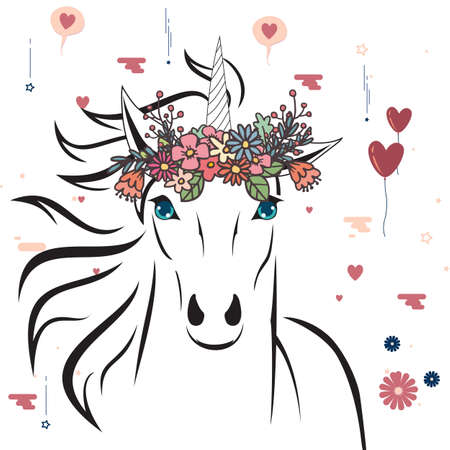 Unicorn with flower crown illustration.