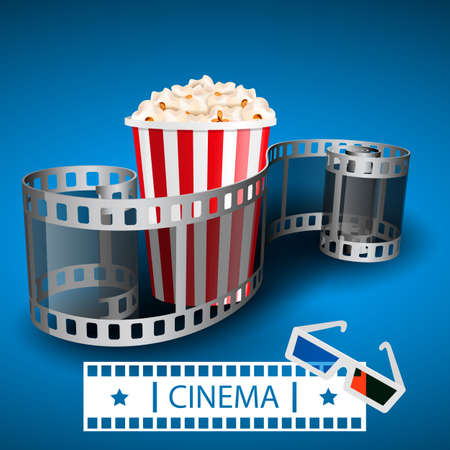 Popcorn for movie theater and online cinema reel on blue pattern. 矢量图像