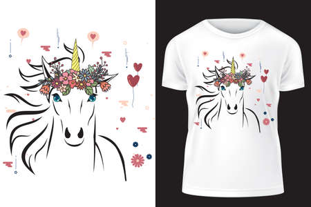 Unicorn with flower crown. Template for print on T-shirt