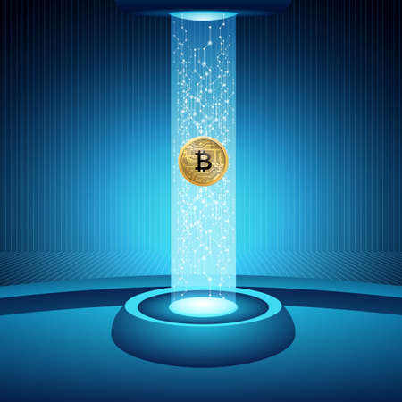 Bitcoin concept vector illustration moving the coins over the internet networks 矢量图像