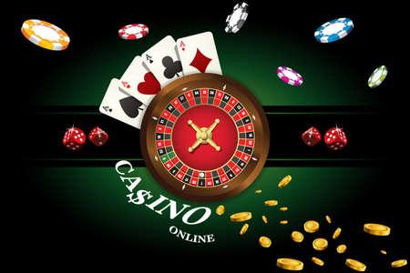 カジノ ルーレット、ダイス、カジノチップ、ポーカーのトランプと背景。ベクトル図