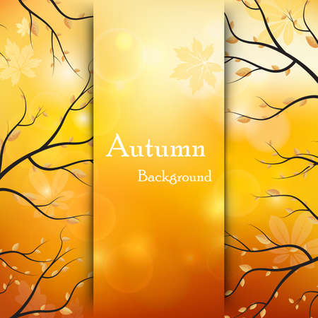 Vector illustration of a branches of autumn leaves. Background with leafs flying in wind motion blur. Autumn design for cards, banners, flyers. Ilustração