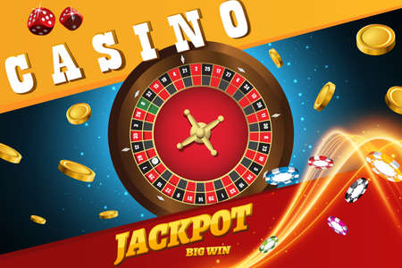 Vector illustration of casino roulette wheel with chips isolated on blue table with place for text 矢量图像